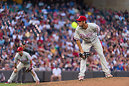 Cole Hamels #35 of the Philadelphia Phillies looks in for the pitch sign during a game against the Minnesota Twins on June 11, 2013 at Target Field in Minneapolis, Minnesota.  The Twins defeated the Phillies 3 to 2.  Photo: Ben Krause