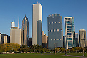Skyline of downtown from Grant Park in Chicago USA