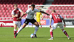 Jonson Clarke-Harris of Peterborough United is put under pressure by Jack Sowerby of Northampton Town - Mandatory by-line: Joe Dent/JMP - 10/10/2020 - FOOTBALL - PTS Academy Stadium - Northampton, England - Northampton Town v Peterborough United - Sky Bet League One