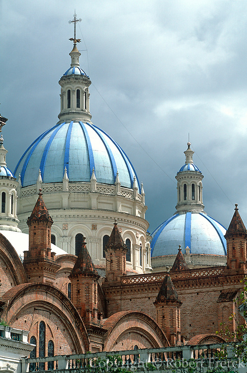 ECUADOR, HIGHLANDS, CUENCA colonial architecture; Cathedral domes