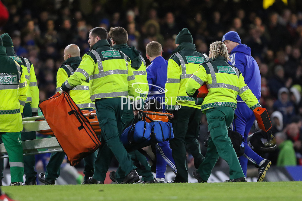 Chelsea's Kurt Zouma is stretchered off during the Barclays Premier League match between Chelsea and Manchester United at Stamford Bridge, London, England on 7 February 2016. Photo by Ellie Hoad.