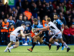 Jason Tovey of Cardiff Blues under pressure from George Taylor of Edinburgh Rugby<br /> <br /> Photographer Simon King/Replay Images<br /> <br /> Guinness PRO14 Round 2 - Cardiff Blues v Edinburgh - Saturday 5th October 2019 -Cardiff Arms Park - Cardiff<br /> <br /> World Copyright © Replay Images . All rights reserved. info@replayimages.co.uk - http://replayimages.co.uk