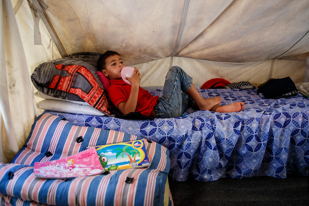 2016 July-Ritsona Refugee Camp, Ritsona, Greece. Yahya, 11, and his family are refugees from Idlib, Syria.