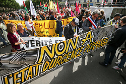 September 10, 2017 - Paris, France - Demonstrators protest against a new anti-terror draft law and denounce what they call a ''permanent state of emergency'', in Paris on September 10, 2017. The banner reads Â« No to the permanent state of emergency ». The new laws -- a campaign pledge of President Emmanuel Macron -- will replace a state of emergency imposed after the November 2015 terror attacks in Paris that left 130 people dead. The measures were extended for a sixth time on July 6. Some of them will become permanent under the proposed law, a move rights groups including Amnesty International and Human Rights Watch say is draconian. (Credit Image: © Michel Stoupak/NurPhoto via ZUMA Press)