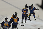 Teammates skate out to congratulate St. Louis Blues left wing Alexander Steen (20) after he scored the winning goal during a shootout between the Vancouver Canucks and the St. Louis Blues on Tuesday April 16, 2013 at the Scottrade Center in downtown St. Louis.