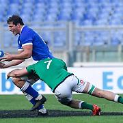 Roma 27/02/2021, Stadio Olimpico<br /> Guinness Six Nations 2021<br /> Italia vs Irlanda <br /> <br /> Michele Lamaro placcato da Will Connors