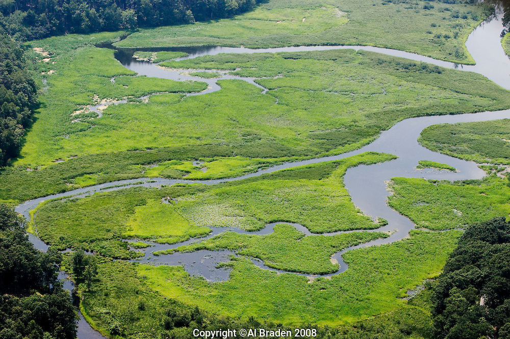 Aerial of Whalebone Cove, Hadlyme, CT on Connecticut River.