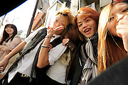smiling Japanese teenagers having a good time together
