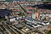 Nederland, Zuid-Holland, Rotterdam, 15-07-2012; Rotterdam-Zuid, winkelcentrum Zuidplein. Midden geheel rechts Ikazia ziekenhuis..The south of Rotterdam, shopping mall (right) and residential district. .luchtfoto (toeslag), aerial photo (additional fee required).foto/photo Siebe Swart