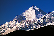 Dhaulagiri I (8167m) , above Kali Gandaki valley, from Jharkot Dzong near entrance to Mustang, Nepal.