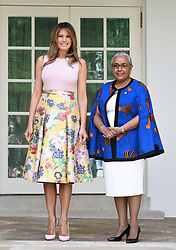 First Lady Melania Trump welcomes Kenya's First Lady Margaret Kenyatta to the White House August 27, 2018 in Washington, DC. . Photo by Olivier Douliery/ Abaca Press