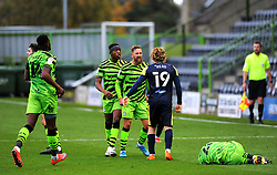 Forest Green Rovers players show their frustration on Arthur Read of Stevenage late tackle on Josh March of Forest Green Rovers- Mandatory by-line: Nizaam Jones/JMP - 17/10/2020 - FOOTBALL - innocent New Lawn Stadium - Nailsworth, England - Forest Green Rovers v Stevenage - Sky Bet League Two