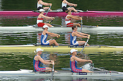 2004 FISA World Cup Regatta Lucerne Switzerland. 18.06.04..Photo Peter Spurrier.GBR's Kath Grainger [left] and Cath Bishop, move away from the start of their Friday heat Peter Spurrier Intersport-Images Tel.+44 7973 819 551 Rowing Course, Lake Rottsee, Lucerne, SWITZERLAND. [Mandatory Credit: Peter Spurrier: Intersport Images]
