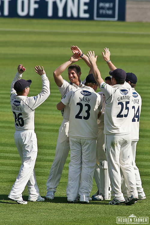 ©Reuben Tabner. 20/04/2011...Durham CCC v Sussex CCC.LV= County Championship..James Anyon of Sussex celebrates his lbw over Michael Di Venuto of Durham. With Sussex team mates Nash, Gatting, Brown and Joyce. Di Venuto went for 30. ..Photo credit should read Reuben Tabner