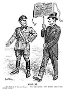 """Moslini. The Duce (to Sir Oswald Mosley). """"FIVE dictators! Why worry about the other four?"""" (Mosley holds up a banner reading 'The Mosley Manifesto. Wanted: A National Cabinet of Five')"""