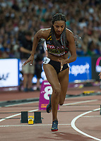 Athletics - 2017 IAAF London World Athletics Championships - Day Two, Evening Session<br /> <br /> 200m Women's Heptathlon <br /> <br /> Leader in the Heptathlon Nafissatou Thiem (Belguim) blasts out of her blocks in the 200m at the London Stadium<br /> <br /> COLORSPORT/DANIEL BEARHAM