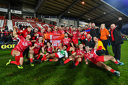 11th November 2018 , Racecourse Ground,  Wrexham, Wales ;  Rugby League World Cup Qualifier,Wales v Ireland ; Wales celebrate there victory over Ireland to secure a place in the 2021 rugby league World Cup<br /> <br /> <br /> Credit:   Craig Thomas/Replay Images