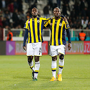 Fenerbahce's Moussa Sow (L) and Pierre Achille Webo Kouamo (R) celebrate victory during their Turkish soccer super league match Medicana Sivasspor between Fenerbahce at 4 Eylul Stadium in Sivas Turkey on Saturday, 09 May 2015. Photo by Aykut AKICI/TURKPIX