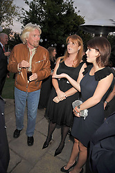 SIR RICHARD BRANSON, SARAH, DUCHESS OF YORK and PRINCESS EUGENIE OF YORK at The Ralph Lauren Sony Ericsson WTA Tour Pre-Wimbledon Party hosted by Richard Branson at The Roof Gardens, London on June 18, 2009