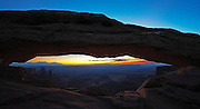 A view of Mesa Arch at sunrise in Canyonlands, Utah.