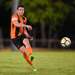 BRISBANE, AUSTRALIA - JANUARY 8: Grant Brix of Easts passes the ball during the Kappa Silver Boot Group A match between Brisbane Strikers and Eastern Suburbs on January 8, 2017 in Brisbane, Australia. (Photo by Patrick Kearney)