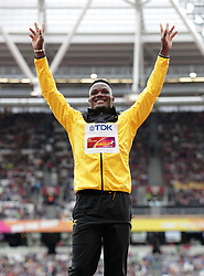Omar Mcleod (gold) on the podium for the Men's 110m Hurdles during day five of the 2017 IAAF World Championships at the London Stadium. PRESS ASSOCIATION Photo. Picture date: Tuesday August 8, 2017. See PA story ATHLETICS World. Photo credit should read: Yui Mok/PA Wire. RESTRICTIONS: Editorial use only. No transmission of sound or moving images and no video simulationJamaica's Omar McLeod (gold) on the podium for the Men's 110m Hurdles during day five of the 2017 IAAF World Championships at the London Stadium. PRESS ASSOCIATION Photo. Picture date: Tuesday August 8, 2017. See PA story ATHLETICS World. Photo credit should read: Adam Davy/PA Wire. RESTRICTIONS: Editorial use only. No transmission of sound or moving images and no video simulation