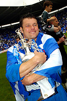 Photo: Ed Godden.<br /> Reading v Queens Park Rangers. Coca Cola Championship. 30/04/2006. Graeme Murty (Reading Captain) celebrates with the Championship Trophy.