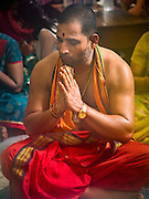 21 OCTOBER 2015 - YANGON, MYANMAR: A Hindu priest at the Sri Kali Temple, a Hindu temple in central Yangon.   PHOTO BY JACK KURTZ