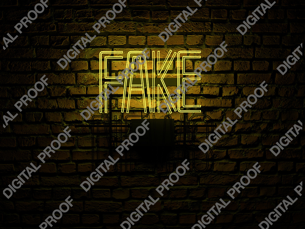 Fake News Neon Sign yellow color fake on news off over a red brick wall at dark - Illustration Computer Rendered - Illustration