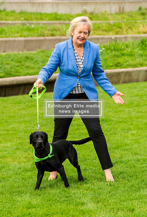 Pictured: Roseanna Cunningham and Holly (black labrador aged four)<br /> Cabinet secretary for Environment, Climate Change and Land Reform, Roseanna Cunningham, MSP, joined Dee McIntosh, Comminucations Director for Battersea Dogs and Cat Home and representatives from animal welfare charities outside the Scottish Parliament as they backed a campaign calling for an increase to the maximum prison sentence for animal cruelty from 12 months to five years. <br /> <br /> <br /> Ger Harley | EEm 20 September 2017