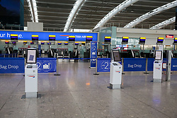 © Licensed to London News Pictures. 09/09/2019. London, UK. Heathrow Terminal 5 check in desks at the departures is completely empty as tens of thousands of British Airways passengers face disruption on the first day of the two days first-ever strike staged by British Airways pilots dispute over pay. British Airways had requested its passengers that they were unlikely to travel and to make alternative arrangements prior to the strike action. Photo credit: Dinendra Haria/LNP