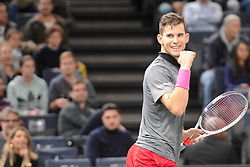 November 1, 2018 - Paris, France - DOMINIC THIEM of Austria celebrates wining his third round match in the Rolex Paris Masters tennis tournament in Paris France. (Credit Image: © Christopher Levy/ZUMA Wire)