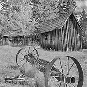 Wagon Axle Wooden Shacks - Golden, Oregon - HDR - Infrared Black & White