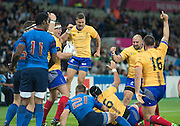London, Great Britain, Romania, celebrate, Valentin URSACHE, toudh down during a Pool D game,     France vs Romania. 2015 Rugby World Cup. Venue. The Stadium Queen Elizabeth Olympic Park. Stratford. East London. England,, Wednesday  23/09/2015. <br /> [Mandatory Credit; Peter Spurrier/Intersport-images]