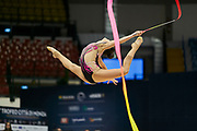 """Alexandra Agiurgiuculese during the """"1st Trofeo Citta di Monza"""". On this occasion we have seen the rhythmic gymnastics teams of Belarus and Italy challenge each other. The Bilateral period was only June 9, 2019 at the Candy Arena in Monza, Italy."""