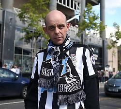 13 August 2017  : Premier League Football : Newcastle United v Tottenham Hotspur: A Newcastle fan proudly wearing his Rafa Benitez scarf: Photo: Mark Leech