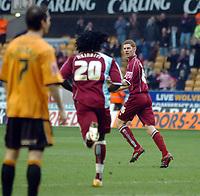 Photo: Kevin Poolman.<br />Wolverhampton Wanderers v Burnley. Coca Cola Championship. 17/02/2007. Chris McCann (far) of Burnley celebrates his goal and their first.