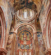 Pictures & images of the Byzantine interior fresco in the Gelati Georgian Orthodox Church St George, 13th century.  The medieval Gelati monastic complex near Kutaisi in the Imereti region of western Georgia (country). A UNESCO World Heritage Site. .<br /> <br /> Visit our MEDIEVAL PHOTO COLLECTIONS for more   photos  to download or buy as prints https://funkystock.photoshelter.com/gallery-collection/Medieval-Middle-Ages-Historic-Places-Arcaeological-Sites-Pictures-Images-of/C0000B5ZA54_WD0s<br /> <br /> Visit our REPUBLIC of GEORGIA HISTORIC PLACES PHOTO COLLECTIONS for more photos to browse, download or buy as wall art prints https://funkystock.photoshelter.com/gallery-collection/Pictures-Images-of-Georgia-Country-Historic-Landmark-Places-Museum-Antiquities/C0000c1oD9eVkh9c