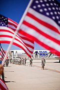 16 JUNE 2010 - PHOENIX, AZ: Soldiers from the 3666th Maintenance Company get off their chartered jet at the 161st Air Refueling Wing hangar at Sky Harbor Airport in Phoenix Wednesday. Members of the 3666th Maintenance Company  of the Arizona Army National Guard returned to Phoenix Wednesday after serving in Iraq.  PHOTO BY JACK KURTZ