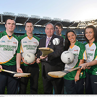 28 November 2012; Uachtarán Chumann Lúthchleas Gael Liam Ó Néill, with from left, Clare hurler Niall Arthur, Mayo footballer Cillian O'Connor, Galway handballer Martin Mulkerrins, Dublin ladies footballer Sineád Goldrick, and Wexford camogie player Ursula Jacob, in attendance at the launch of the GAA Annual Games Development Conference. Croke Park, Dublin. Picture credit: Brian Lawless / SPORTSFILE