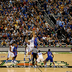 Apr 2, 2012; New Orleans, LA, USA; A general view of the tip off between Kentucky Wildcats forward Anthony Davis (23) and Kansas Jayhawks center Jeff Withey (5) during the first half in the finals of the 2012 NCAA men's basketball Final Four at the Mercedes-Benz Superdome. Mandatory Credit: Derick E. Hingle-US PRESSWIRE