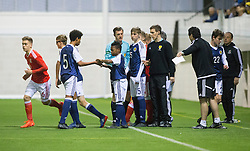 Scotland's Karamoko Dembele about to come on. Scotland 2 v 2 Wales, Under 16 Victory Shield, Oriam 1/11/2016.