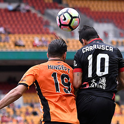 BRISBANE, AUSTRALIA - DECEMBER 11: Jack Hingert of the Roar and Marcelo Carrusca of Adelaide United compete for the ball during the round 10 Hyundai A-League match between the Brisbane Roar and Adelaide United at Suncorp Stadium on December 11, 2016 in Brisbane, Australia. (Photo by Patrick Kearney/Brisbane Roar)