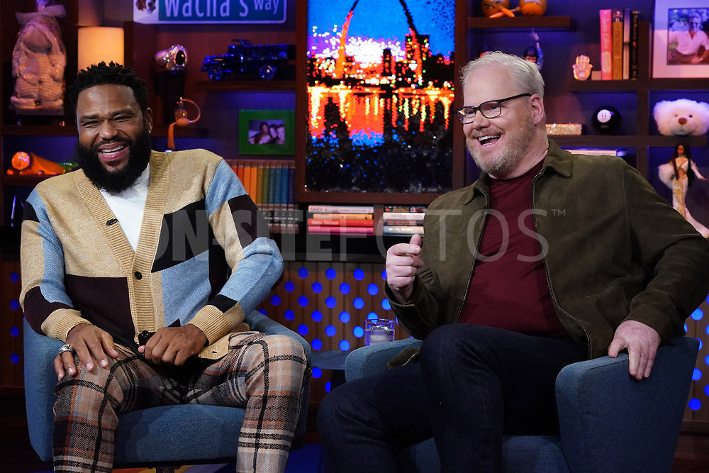 WATCH WHAT HAPPENS LIVE WITH ANDY COHEN -- Episode 18162 -- Pictured: (l-r) Anthony Anderson, Jim Gaffigan -- (Photo by: Charles Sykes/Bravo)