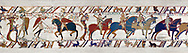 11th Century Medieval Bayeux Tapestry - Scene 50 - A watchman warns Harold that the Norman army is close. Scene 50 William addresses his soldiers. Battle of Hastings 1066 .<br /> <br /> If you prefer you can also buy from our ALAMY PHOTO LIBRARY  Collection visit : https://www.alamy.com/portfolio/paul-williams-funkystock/bayeux-tapestry-medieval-art.html  if you know the scene number you want enter BXY followed bt the scene no into the SEARCH WITHIN GALLERY box  i.e BYX 22 for scene 22)<br /> <br />  Visit our MEDIEVAL ART PHOTO COLLECTIONS for more   photos  to download or buy as prints https://funkystock.photoshelter.com/gallery-collection/Medieval-Middle-Ages-Art-Artefacts-Antiquities-Pictures-Images-of/C0000YpKXiAHnG2k