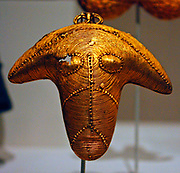 Ram's Head Ornament.  Cote d'Ivoire.  Lagoon peoples.  19th-20th century.  Gold.