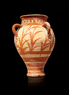Minoan clay pot decorted with a floral design , Knossos Palace 1500-1450 BC BC, Heraklion Archaeological  Museum, black background. .<br /> <br /> If you prefer to buy from our ALAMY PHOTO LIBRARY  Collection visit : https://www.alamy.com/portfolio/paul-williams-funkystock/minoan-art-artefacts.html . Type -   Heraklion   - into the LOWER SEARCH WITHIN GALLERY box. Refine search by adding background colour, place, museum etc<br /> <br /> Visit our MINOAN ART PHOTO COLLECTIONS for more photos to download  as wall art prints https://funkystock.photoshelter.com/gallery-collection/Ancient-Minoans-Art-Artefacts-Antiquities-Historic-Places-Pictures-Images-of/C0000ricT2SU_M9w