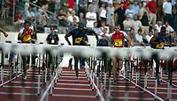 Friidrett, Athletics, IAAF Golden League, ExxonMobil Bislett Games, Arne Haukvik Memorial, 27. juni 2003.  Ron Bramlett (7), Chris Phillips (141), Terrence Trammell (38), og Stanislav Olijars (9)
