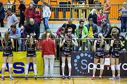 Players of Nova KBM and their fans celebrate after winning during volleyball match between Nova KBM Branik Maribor and OK Luka Koper in Final of Women Slovenian Cup 2014/15, on January 18, 2015 in Sempeter v Savinjski dolini, Slovenia. Photo by Vid Ponikvar / Sportida