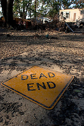 03 November, 2005. New Orleans, Louisiana. Post Katrina.<br /> Dead end, literally. The remains of debris strewn Oak Grove trailer park in Saint Bernard parish just south of New Orleans. Hurricane Katrina caused a 20ft tidal surge to sweep over the land, devastating much of the parish.<br /> Photo; ©Charlie Varley/varleypix.com